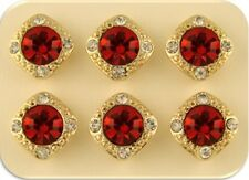 Beads Crystal Gala 8mm Red Siam Swarovski Elements GOLD ~ 2 Hole Sliders QTY 6
