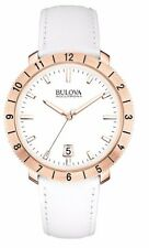 Bulova Men's 97B128 Accutron II Moonview Rose Gold Case White Leather Band Watch