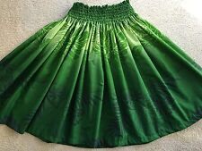 "NEW GREEN OMBRÉ HAWAIIAN HULA DANCE PAU PA'U SKIRT 29"" LONG MADE IN HAWAII"