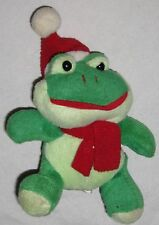 """Toy Plush Green Red 6"""" Frog w Red Hat"""