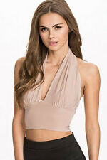 Sexy Beige Tan Brown Low Cut Front Halter Crop Top Belly Shirt Blouse S/M