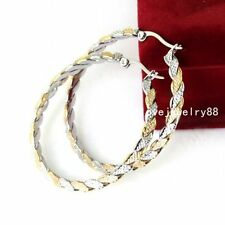 Fashion Silver&gold Charm Womens Stainless Steel Round Hoop Earrings