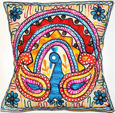 "Cushion Cover 16x16"" Offwhite Colourful Embroidery Indian Animal Bird Hippy Boho"