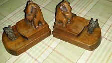 Art  Deco PAIR OF HAND CARVED WOODEN BOOKENDS OF SCOTTIE DOGS