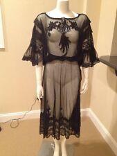 VTG Designer Mili Arango Two-Piece Black Evening See-Thru Lace Size Small