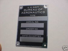 U.S. NAVY Acceptance Plate WW2 Aircraft Data Plate Acid Etched Aluminum