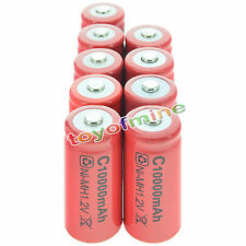9x C size 1.2V 9500mAh Ni-MH Red Color Rechargeable Battery USA