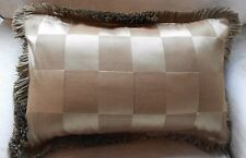 NEW Luxury SILK SQUARES Cocoa Brown oblong Cushion covers with Silky fringe trim