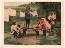 GIRLS WASH DAY DOLLS CLOTHES, CLOTHES LINE, vintage print authentic 1927