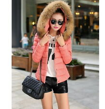 Hot Winter Women Short Slim Down Cotton Hooded Fur Collar coat Jacket Parka XW