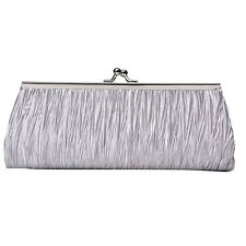 Ladies Satin Pleated Wedding Bridal Evening Party Clutch Purse Bag Handbag FG