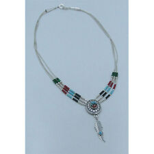 3 Strand 925 Sterling Silver Multi-gemstone Turquoise Onyx Coral Concho Necklace