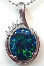 Opal Size 12x10mm Natural Black Triplet Opal Pendant 10.688ct Solid Silver Set
