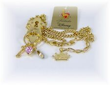 DISNEY Kidada CINDERELLA 14-K Gold Plated LOCK Key HEART Shoe CHARMS Necklace