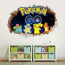 Pokemon Go Wall Sticker Pikachu Charmander Squirtle Mural Decals Kids Room Decor