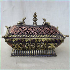 INCENSE BURNER TIBET LATTICED COPPER WITH DEER & BIRDS 8 BRASS SACRED SYMBOLS