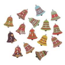 100 Pcs Mixed Christmas Bell Wood Sewing Decorative Buttons Scrapbooking 25x20mm