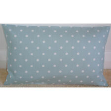 "20""x12"" Oblong Bolster Cushion Cover Duck Egg Blue and White Polka Dots 20x12"