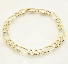"8.5"" 7mm Mens Royal Figaro Bracelet Real Solid 10K Yellow Gold Great Gift Idea"