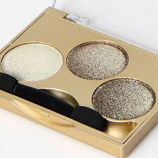 Smokey Eye Shadow Palette Glitter Mineral Gold Metal Shine 3 Colors Makeup Set