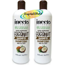 2x Inecto Coconut Hair SHAMPOO Super Nourishing 500ml / 16.9floz