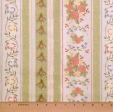 GENTLER TIMES! 100% COTTON FABRIC! 1/2 YARD! FLORAL STRIPE WHITE~SHARON REYNOLDS