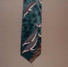 "World Wildlife Fund Humpback Whales Design #134 55""Neck Tie made in Usa #830"