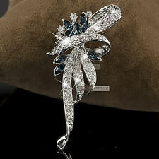 18K WHITE GOLD GP GENUINE SWAROVSKI CRYSTAL LUXURY FLOWER BROOCH