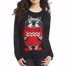 Ugly Christmas Sweater Jumper Women M Jolt Raccoon in a Sweater NWT $42