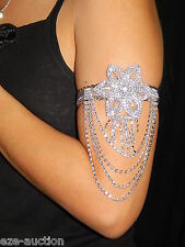 BELLY DANCE RHINESTONE SILVER UPPER ARM , BRACELET, FOOT ANKLET FLOWER