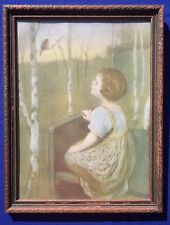 "Vintage 1920s Etching Print ""Spring Song"" by Simon Glucklich Blind Girl Framed"