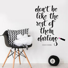 Coco Chanel Famous Quote Lipstick Words Wall Art Decal Wall Sticker