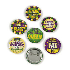 24 Mardi Gras Buttons Metal Pins GOT BEADS? FAT TUESDAY THROW ME SOMETHING MISTA