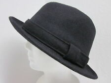 New Scala Wool blend stingy brim trilby fedora winter hat - Black 7-1/8 / 57cm