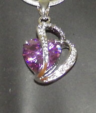 New 925 Sterling Silver Amethyst Crystal Heart Pendant Charm Twist Link Chain