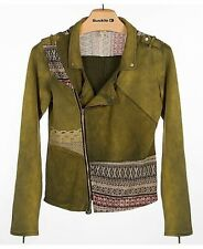 Gimmicks By BKE Asymmetrical Military Green Moto Jacket Pieced Terry XS $124.00
