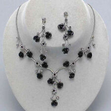 Black rose necklace set crystal diamante jewellery earrings sparkly proms 0208