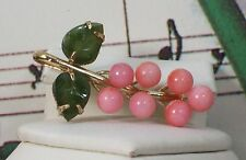 100% Genuine Natural Coral And Jade Broche / Pin 1.25 Inch Long. CP002