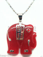Fashion Natural Red Jade Elephant Pendant White Gold Plated  Free Women's