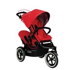 Phil & Teds Navigator 2 Double Stroller, Cherry Red - NEW (Doubles Kit Included)
