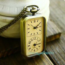 Bronze Quartz Steampunk Pocket Watch Dual Time Zone Necklace Chain