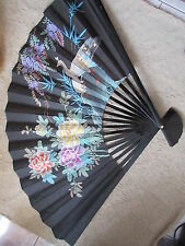 "Old Vintage Chinese Handpainted Large Fan w/ Box 35"" Long"