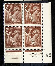 FRANCE - 1945 - N°653 2fr IRIS COIN DATÉ du 31.1.45 (sans point blanc) - TB