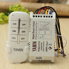 Wireless 4 Channels ON/OFF 220V Lamp Remote Control Switch Receiver Transmitter