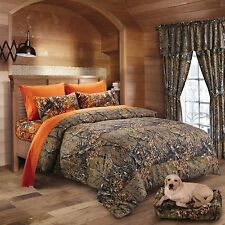 7 PC KING SIZE  WOODS NATURAL CAMO COMFORTER AND ORANGE SHEET SET CAMOUFLAGE