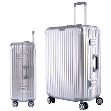 "26"" Travel Luggage Set Bag Silver ABS Aluminum frame Trolley Suitcase  4 Wheels"