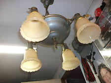 Vintage  Four Socket   Brass & Metal  Hanging Ceiling Chandelier Light.