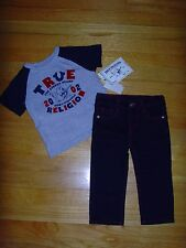 NEW TRUE RELIGION BABY BOYS OUTFIT 2PC GIFT SET STRAIGHT JEANS & T-SHIRT 24M