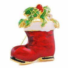 2014 Christmas Santa Claus Boot Shoes Pefect Gift Brooch Pins Crystal Rhinestone