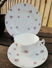 Pretty Pink Rose Chintz China Trio - Tea Cup, Saucer, Plate - Allerton & Sons